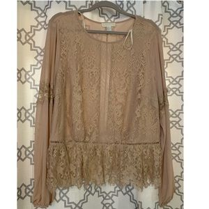 Forever 21+ Cream Lace Top